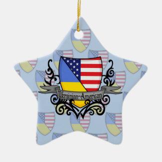 Bandera Ucraniano-Americana del escudo Adorno De Cerámica En Forma De Estrella