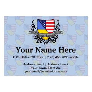 Bandera Ucraniano-Americana del escudo Tarjetas De Visita Grandes