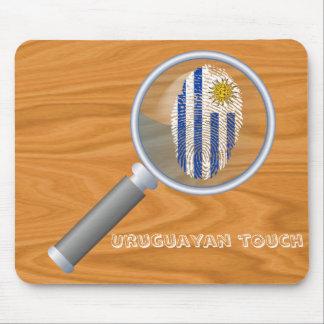 Bandera uruguaya de la huella dactilar del tacto alfombrilla de ratón