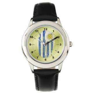 Bandera uruguaya de la huella dactilar del tacto reloj de pulsera