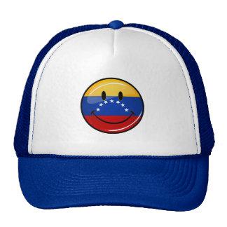 Bandera venezolana sonriente de la ronda brillante gorras