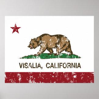 Bandera Visalia del estado de California Posters