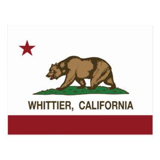 Bandera Whittier del estado de California Tarjeta Postal