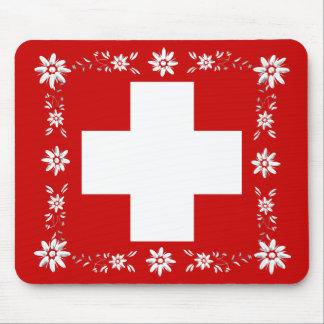 Bandera y edelweiss suizos 2 alfombrilla de ratón
