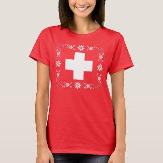 Bandera y edelweiss suizos camiseta