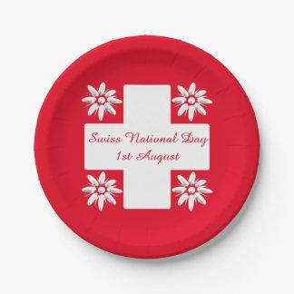 Bandera y edelweiss suizos plato de papel