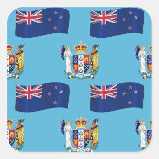 Bandera y escudo de Nueva Zelanda Calcomanía Cuadradas Personalizada