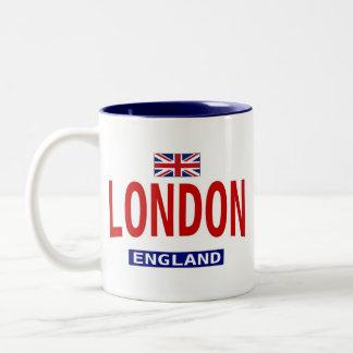 Bandera y frase de Londres Inglaterra Taza De Dos Tonos