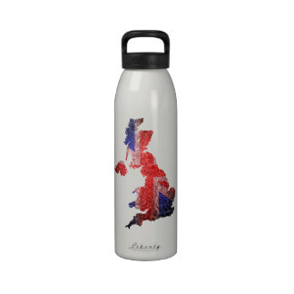 Bandera y mapa BRITÁNICOS Botellas De Agua Reutilizables