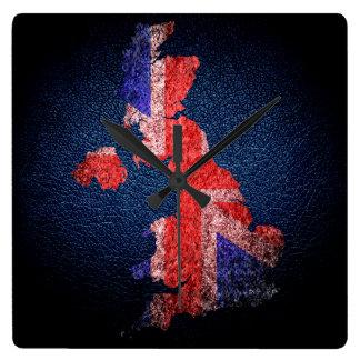 Bandera y mapa BRITÁNICOS Reloj Cuadrado