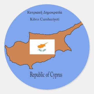 Bandera y mapa de la República de Chipre Pegatina Redonda