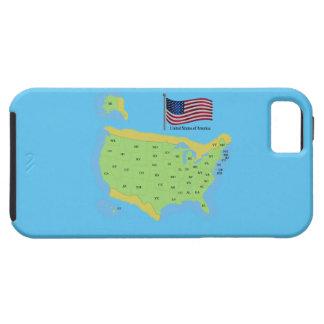 Bandera y mapa de los E.E.U.U. Funda Para iPhone SE/5/5s
