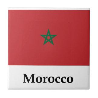 Bandera y nombre de Marruecos Azulejo Cuadrado Pequeño
