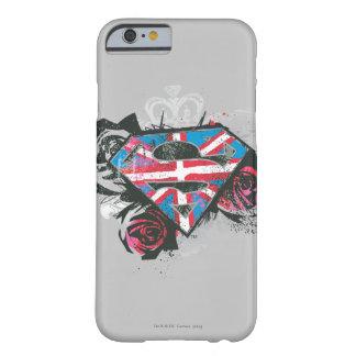 Bandera y rosas británicos de Supergirl Funda De iPhone 6 Barely There