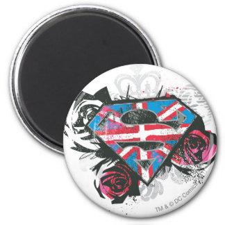 Bandera y rosas británicos de Supergirl Imán Redondo 5 Cm
