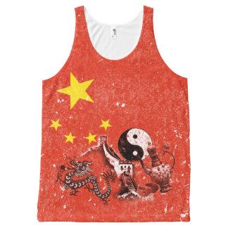 Bandera y símbolos de China ID158 Camiseta De Tirantes Con Estampado Integral