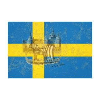 Bandera y símbolos de Suecia ID159 Lienzo