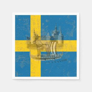Bandera y símbolos de Suecia ID159 Servilleta De Papel