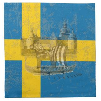 Bandera y símbolos de Suecia ID159 Servilleta De Tela