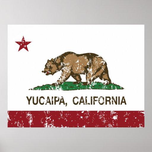 Bandera Yucaipa del estado de California Poster