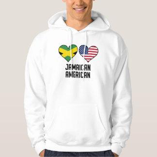 Banderas americanas jamaicanas del corazón sudadera