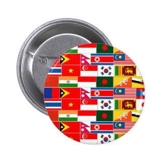 Banderas asiáticas chapa redonda de 5 cm