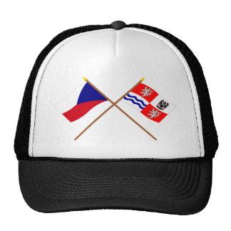 Banderas cruzadas Bohemia checas y centrales Gorros Bordados