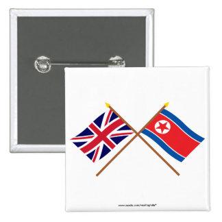 Banderas cruzadas BRITÁNICAS y de Corea del Norte Pins