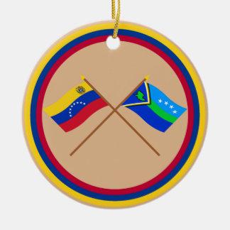 Banderas cruzadas de Amacuro de Venezuela y del de Ornamento Para Arbol De Navidad
