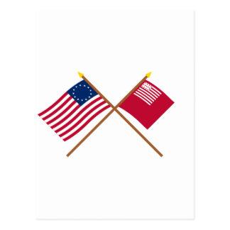 Banderas cruzadas de Betsy Ross y de Brandywine Postal