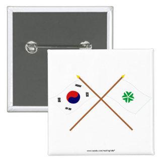 Banderas cruzadas de Corea y de Daejeon Pins
