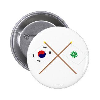 Banderas cruzadas de Corea y de Daejeon Pin