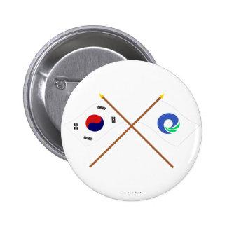 Banderas cruzadas de Corea y de Inchon Pin