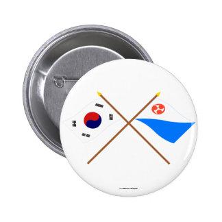 Banderas cruzadas de Corea y de Jeju-Do Chapa Redonda 5 Cm