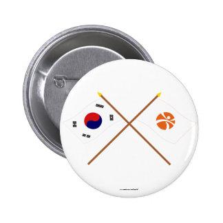 Banderas cruzadas de Corea y de Kwangju Pins