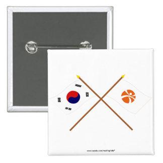 Banderas cruzadas de Corea y de Kwangju Chapa Cuadrada 5 Cm