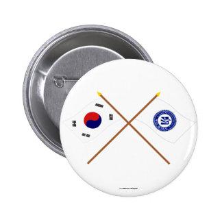 Banderas cruzadas de Corea y de Pusan Chapa Redonda 5 Cm