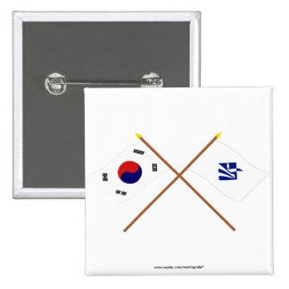 Banderas cruzadas de Corea y de Pusan variante Pin
