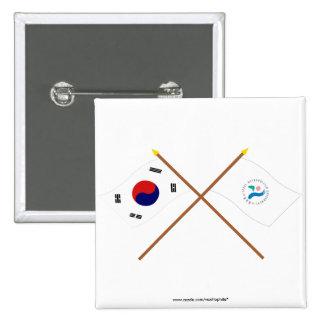 Banderas cruzadas de Corea y de Seul Pins