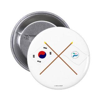 Banderas cruzadas de Corea y de Seul Chapa Redonda 5 Cm