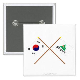 Banderas cruzadas de Corea y de Ulsan Pins