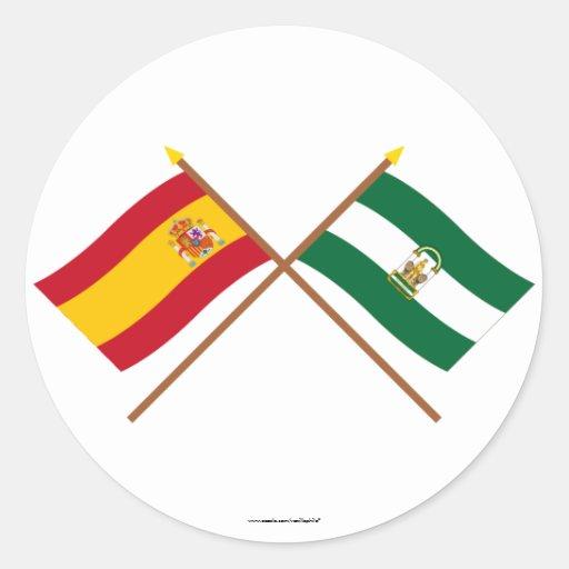 Banderas cruzadas de España y de Andalucía Pegatinas Redondas