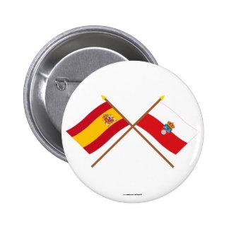 Banderas cruzadas de España y de Cantabria Pins
