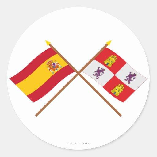 Banderas cruzadas de España y de Castilla y León Etiquetas Redondas