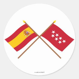 Banderas cruzadas de España y de Madrid Etiqueta Redonda