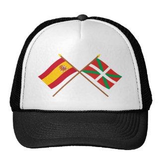 Banderas cruzadas de España y de País Vasco (Euska Gorro De Camionero