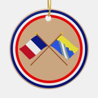 Banderas cruzadas de Francia y de Aube Adorno Para Reyes