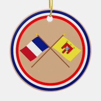 Banderas cruzadas de Francia y de Cantal Ornaments Para Arbol De Navidad