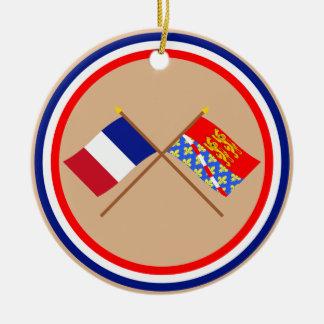Banderas cruzadas de Francia y de Eure Ornamento Para Reyes Magos