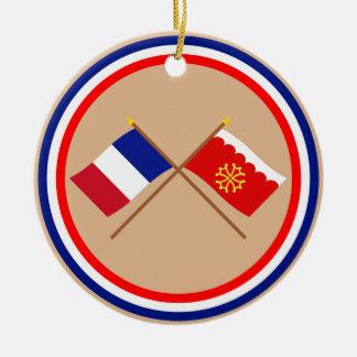Banderas cruzadas de Francia y de Gard Ornamente De Reyes